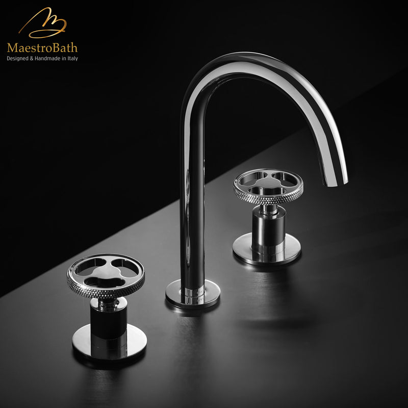 Country 3-Hole Luxury Bathroom Faucet | Polished Chrome