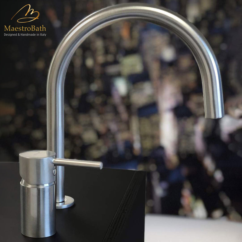 Modern Bathroom Faucet with Separate Handle | Brushed Chrome