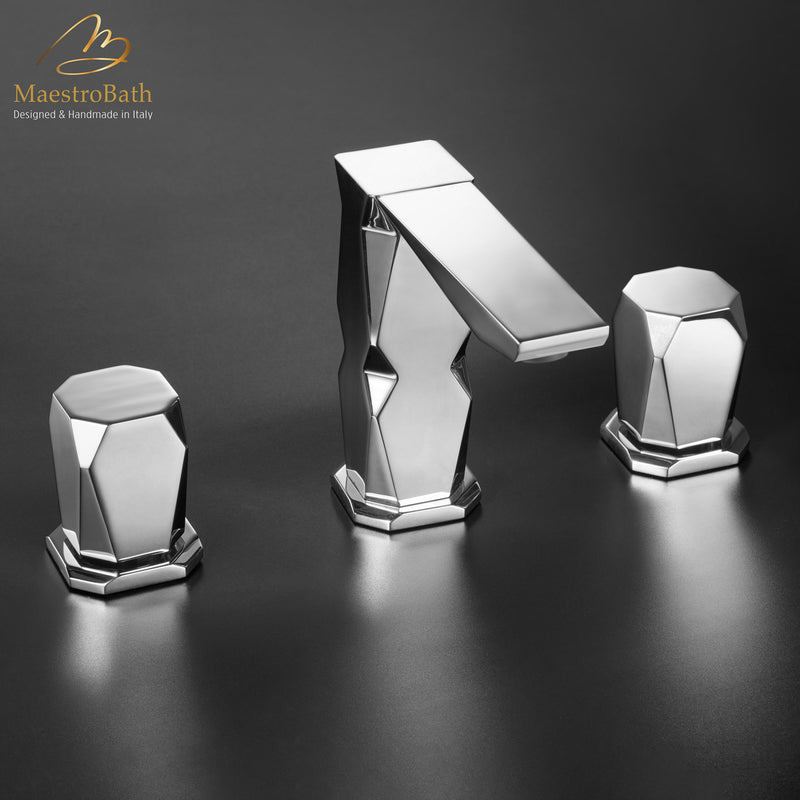 Ikon 3-Hole Polished Chrome Luxury Bathroom Faucet