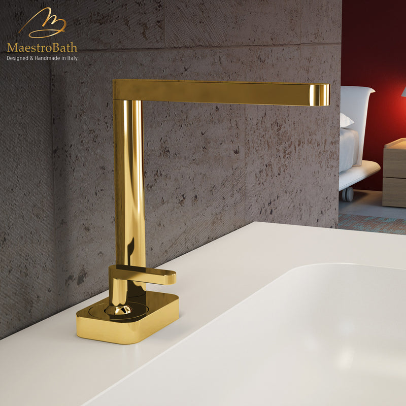 Modern Italian Bathroom Sink Faucet | Polished Gold