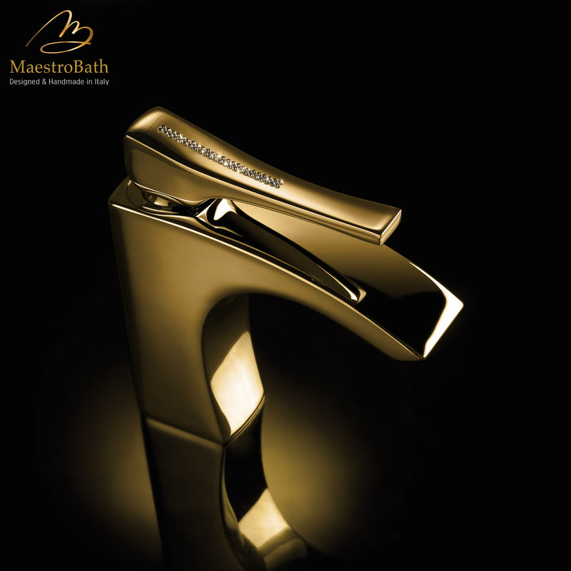 Skip Diamond 1-Hole Polished Gold Luxury Vessel Sink Faucet