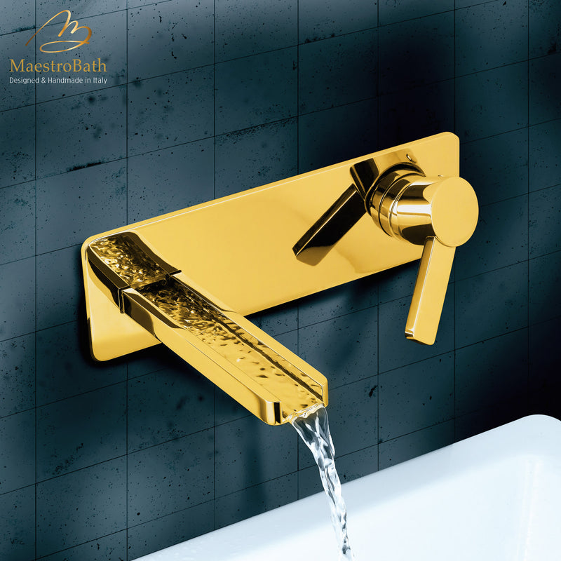 Modern Wall Mount Bathroom Faucet Aqua Polished Gold