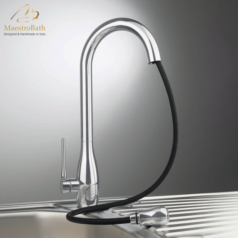 JAR DUAL Brushed Nickel Modern Kitchen Faucet | Pull Out Dual Shower