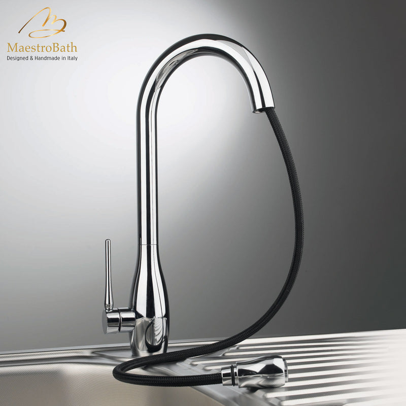 JAR DUAL Chrome Modern Kitchen Faucet | Pull Out Dual Shower
