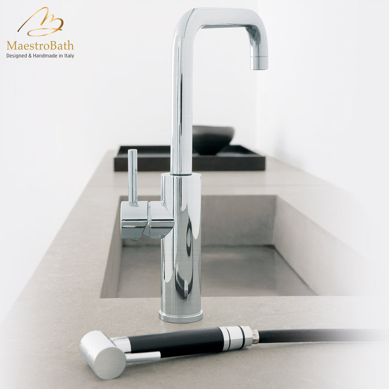 MITU SIDE MONO Brushed Nickel Modern Kitchen Faucet | Pull Out Side Sprayer