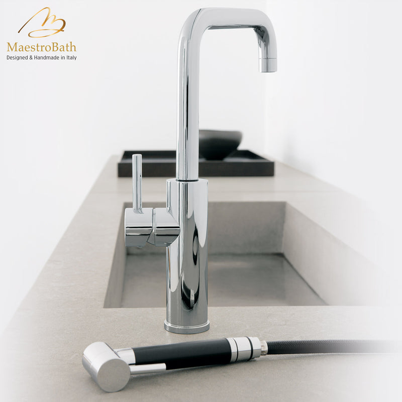 MITU SIDE MONO Chrome Modern Kitchen Faucet | Pull Out Side Sprayer