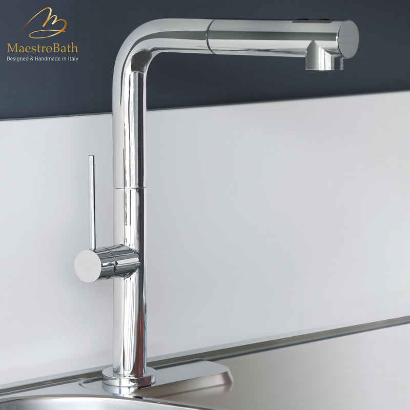 SLIM 1 DUAL Brushed Nickel Modern Kitchen Faucet | Pull Out Dual Shower