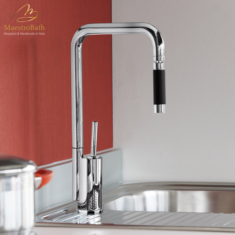 Bend Snake Brushed Nickel | Modern Kitchen Faucet with Orientable Head