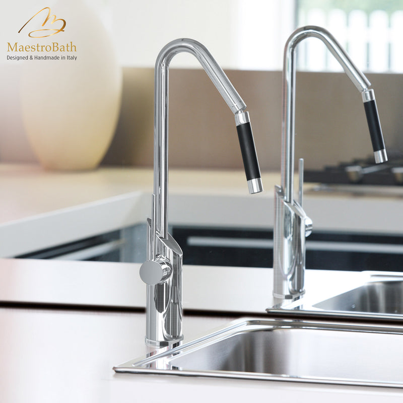 SWING SNAKE Brushed Nickel Modern Kitchen Faucet | Orientable Head