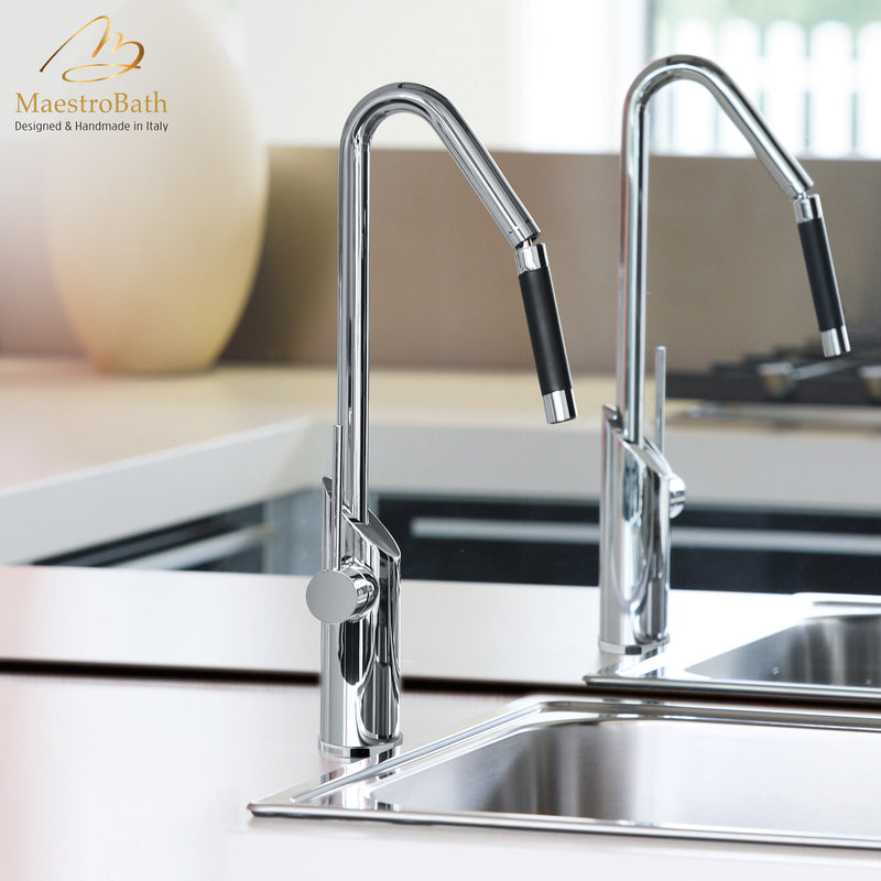 SWING SNAKE Chrome Modern Kitchen Faucet | Orientable Shower