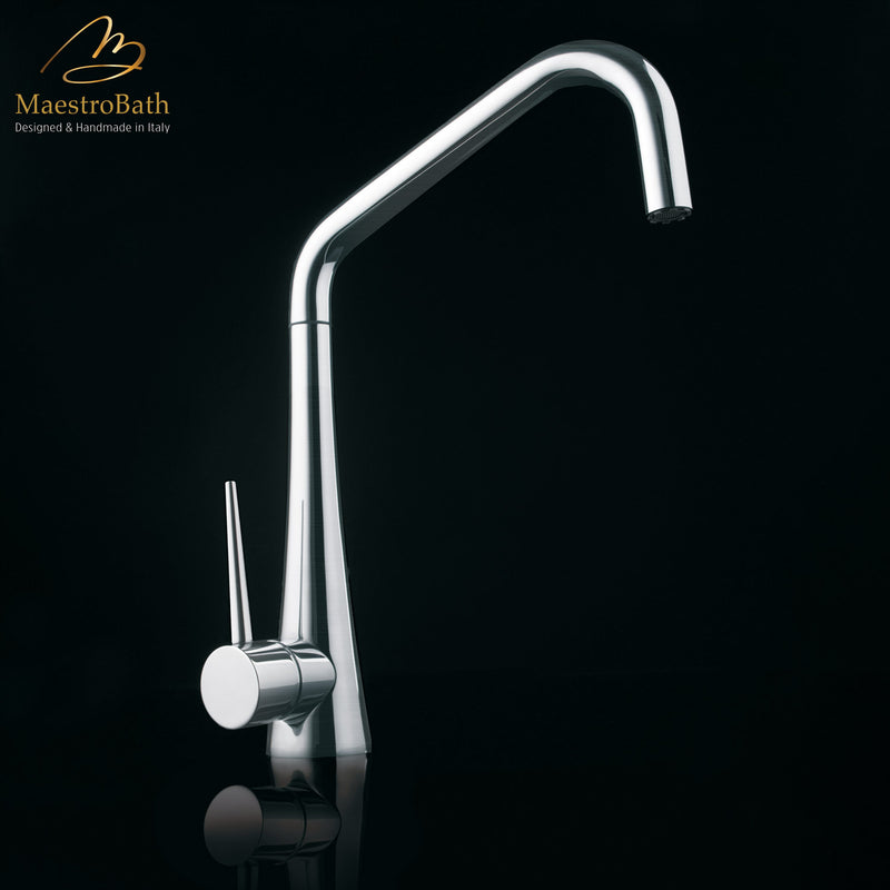 TINK D Brushed Nickel Modern Kitchen Faucet | Pull Out Dual Shower