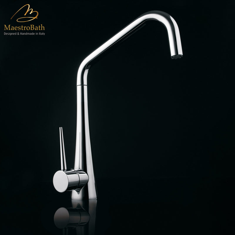 TINK D Chrome Modern Kitchen Faucet | Pull Out Dual Shower