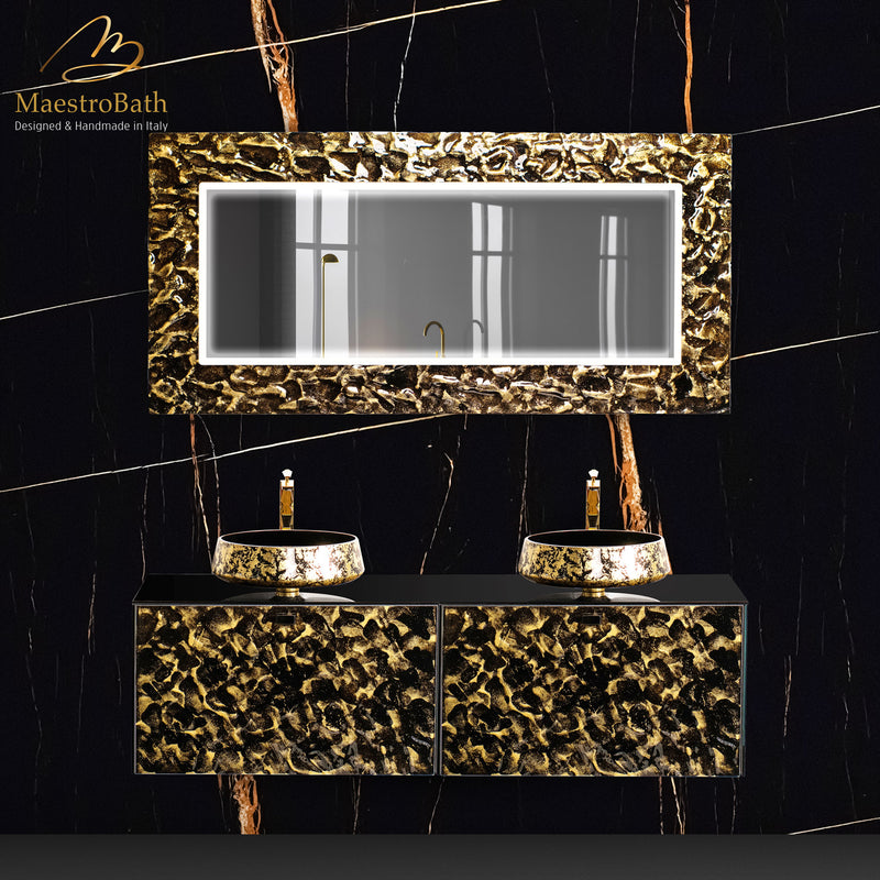 Lucent Luxury LED Lighted Mirror | Black and Gold