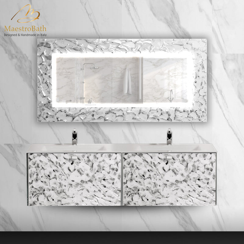 Artistic Luxury Mirror | White and Silver