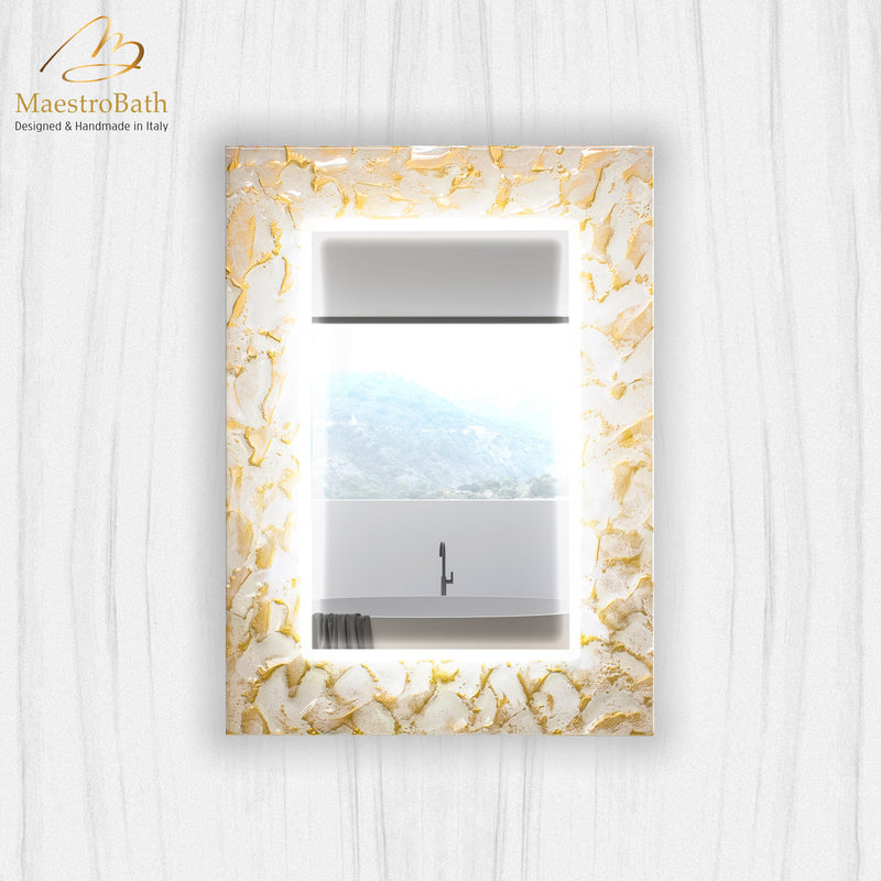 Artistic Luxury Mirror | White and Gold