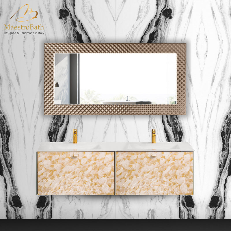 Lucent Luxury Crystal Double Vanity Mirror | Silver and Bronze