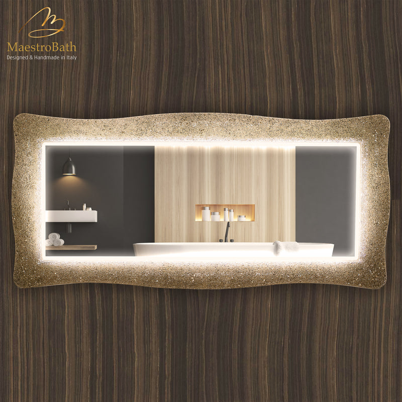 Lucent Luxury Crystal Double Vanity Mirror LED | Sand