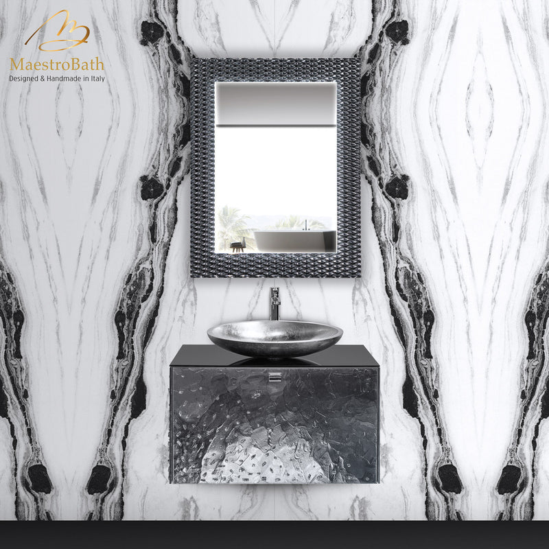Lucent Luxury Crystal Single Vanity Mirror | Grey-Smoke Silver