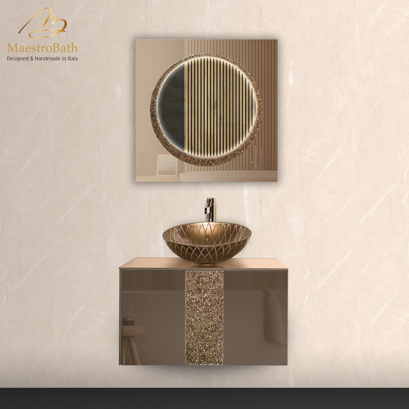 Lucent Luxury Crystal Single Vanity Mirror | Bronze