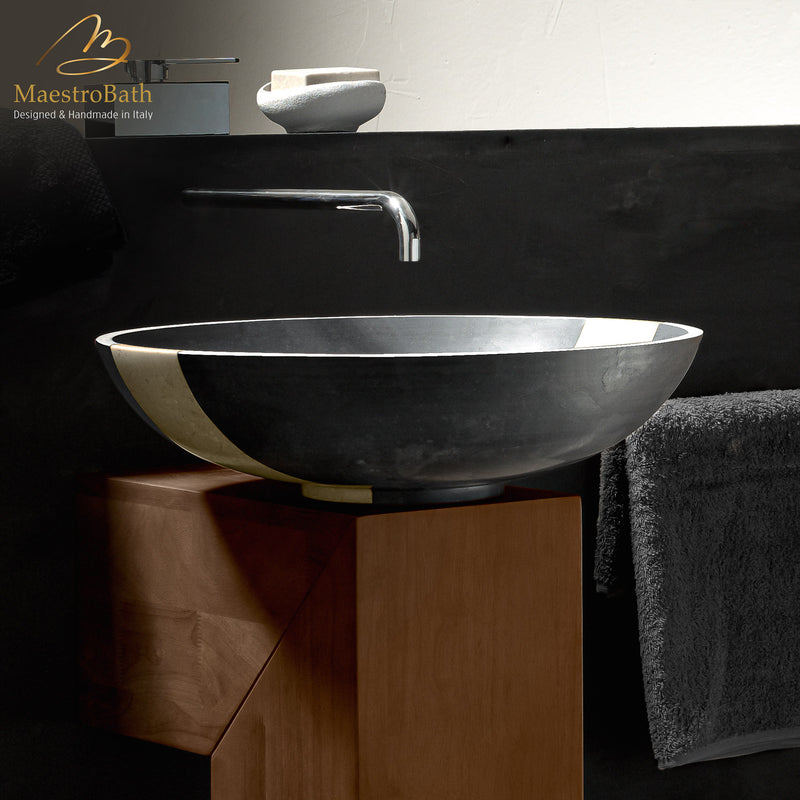 Stone Coplato Black Contemporary Natural Stone Sink