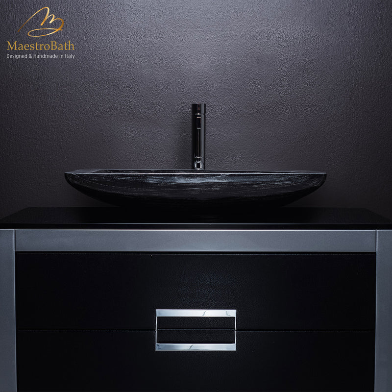 40 Inch Bathroom Vanity With Sink Black And Silver