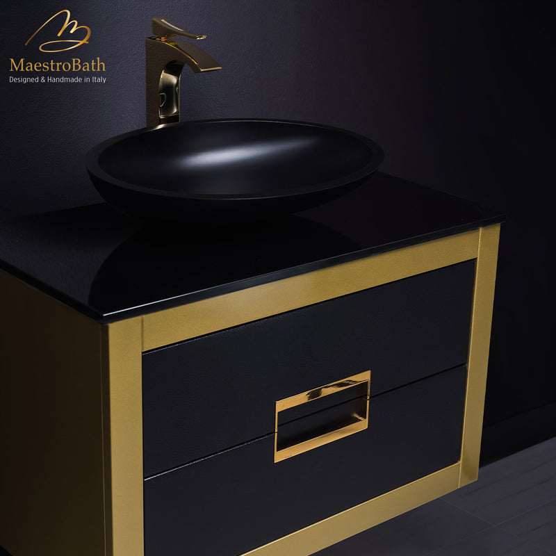 Gold 32 inch bathroom vanity with top