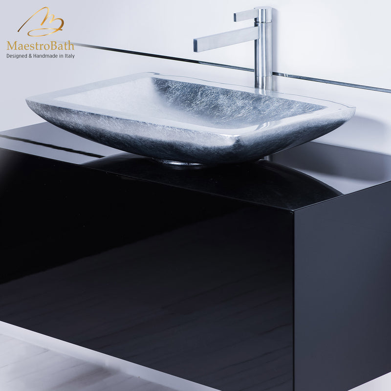 Modern black bathroom vanity with vessel sink combo | Black and Silver
