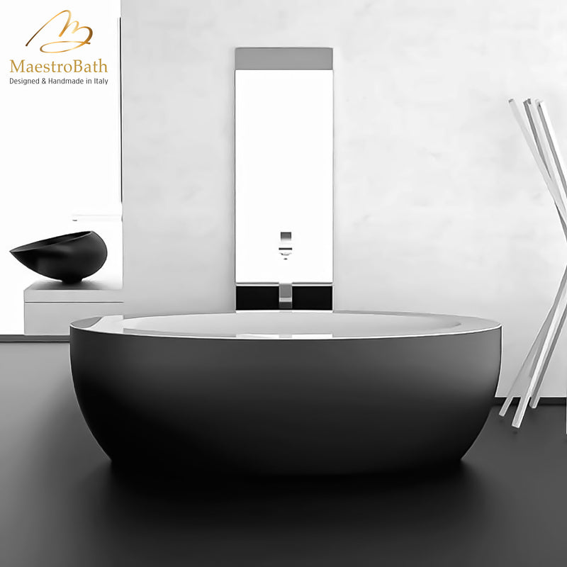 Modern Oval Bathtub | Black