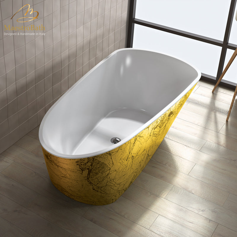 Sophia Luxury Freestanding Bathtub | Black and Gold