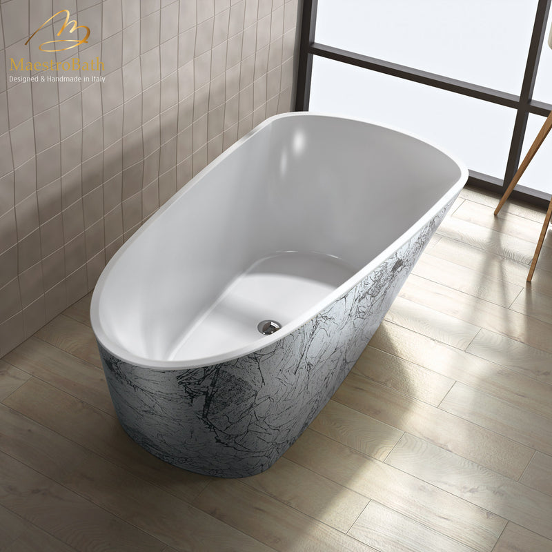 Sophia Luxury Freestanding Bathtub | Black and Silver