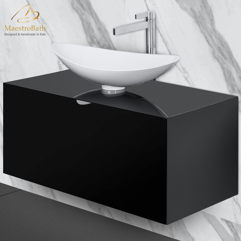 Dora 40 Black Lacquered Bathroom Vanity