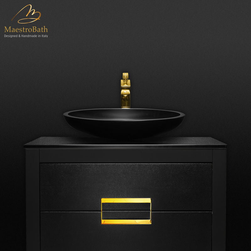 Danya Black and Gold Leather Modern Bathroom Vanity 32 Inch