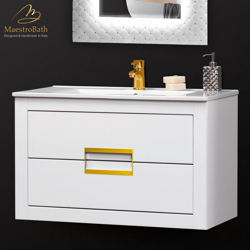 Danya White and Gold Leather Modern Bathroom Vanity 32 Inch