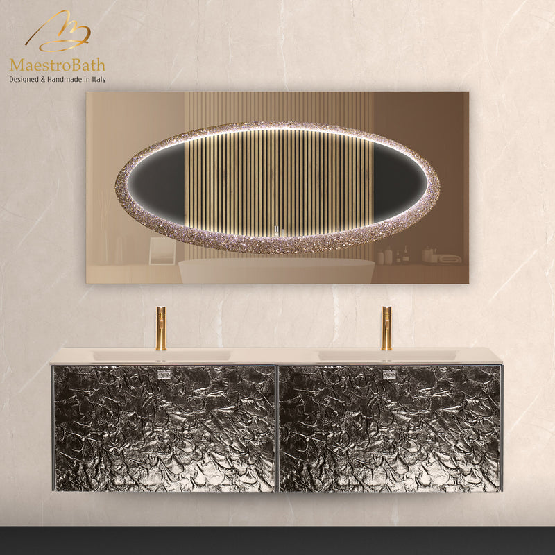 Luxury Murano Glass Wallmount Bathroom Double Vanity | Bronze