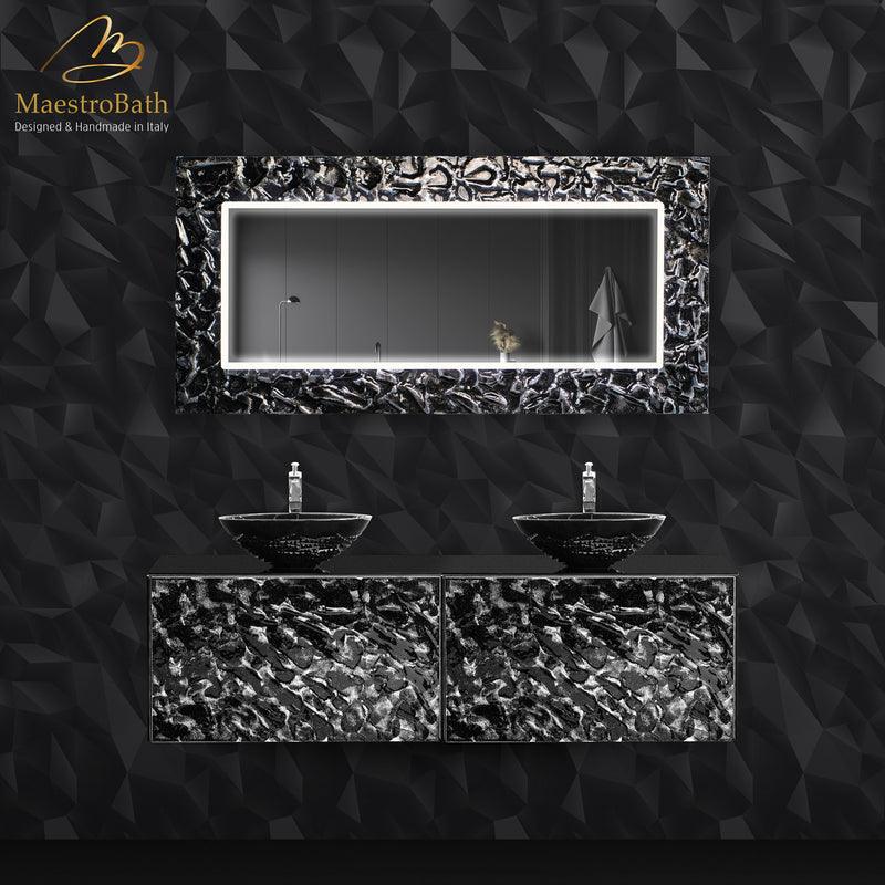 Designer Murano Glass Wallmount Bathroom Double Vanity | Black and Silver
