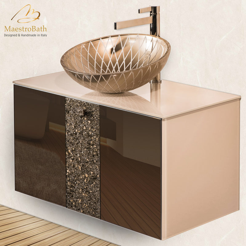 Luxury Crystal Glass Wallmount Bathroom Vanity