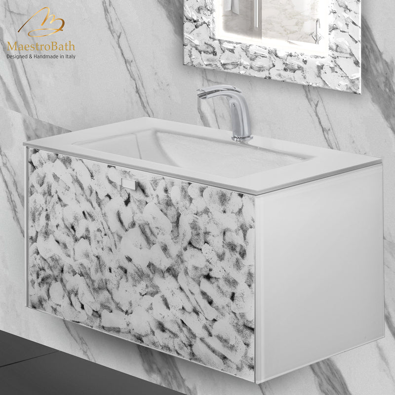 Luxury Wallmount Bathroom Vanity | White and Silver