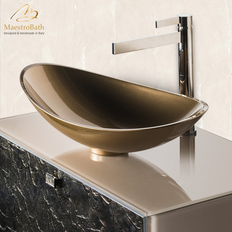 Luxury Murano Glass Wallmount Bathroom Vanity | Bronze
