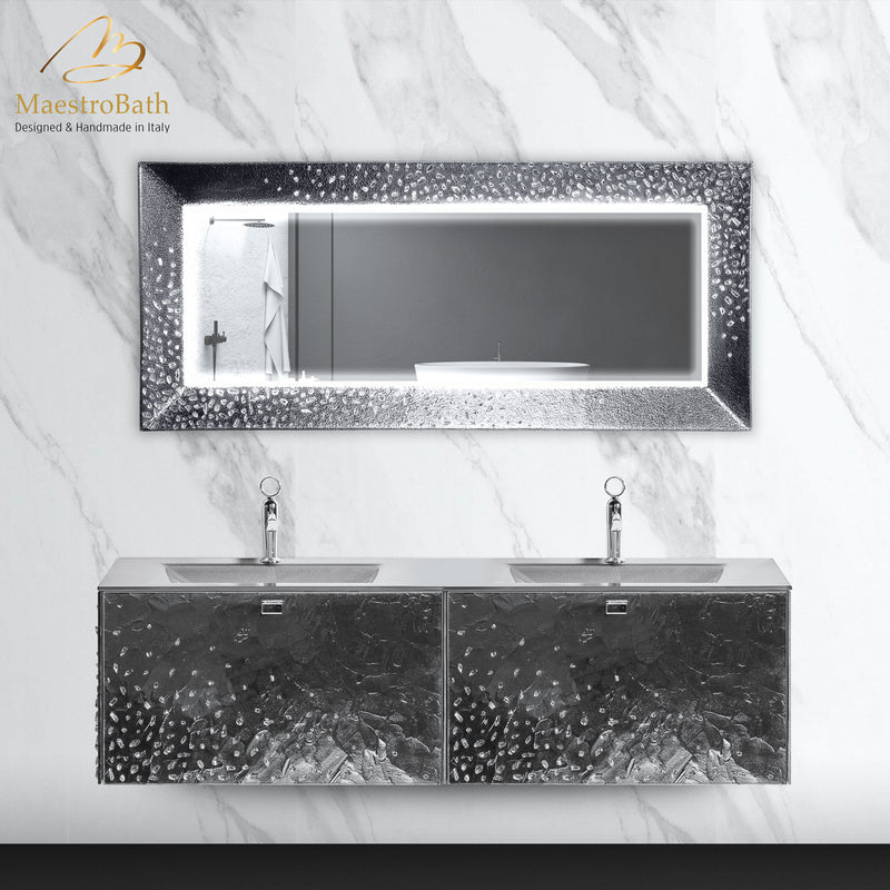 Luxury Murano Glass Wallmount Bathroom Double Vanity | Silver Leaf