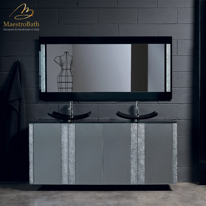 Modern Crystal Silver Bathroom Vanity