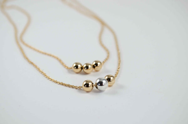 Mixed gold ball necklace|Minimalistic collection - Summer Gems