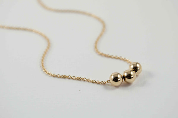 3 gold ball necklace  | Minimalistic collection - Summer Gems