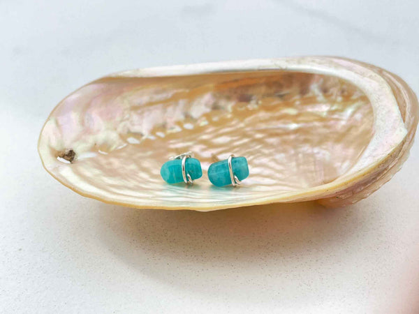 Amazonite stud earring in a seashell
