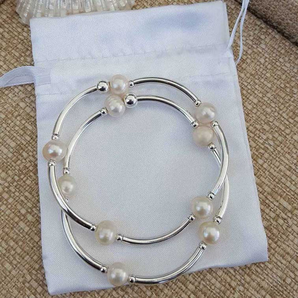 Pearl Dot Bangle  | Stackable collection | Coco elegance - Summer Gems