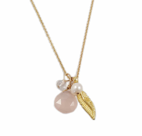 Pink chalcedony leaf necklace |  Charm collection