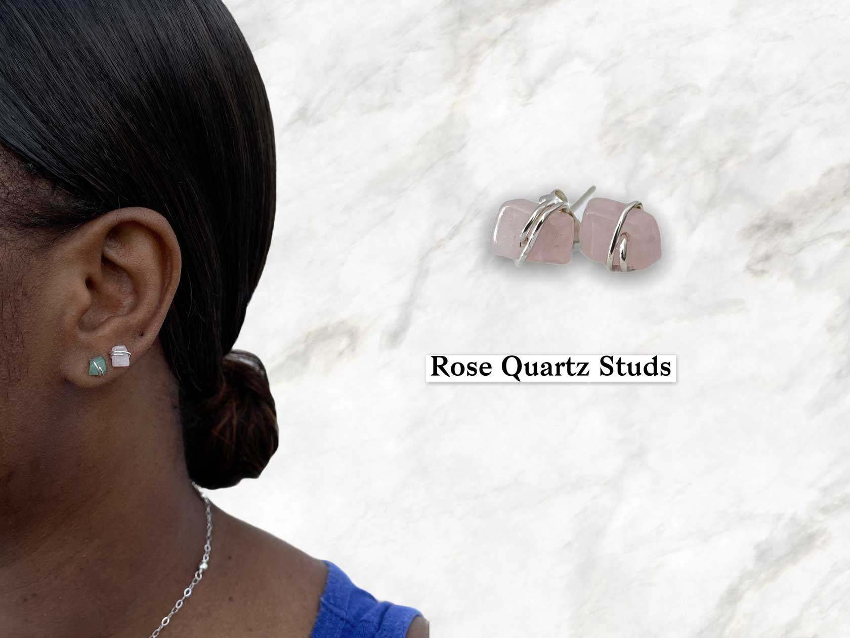 Rose quartz gemstone stud earrings