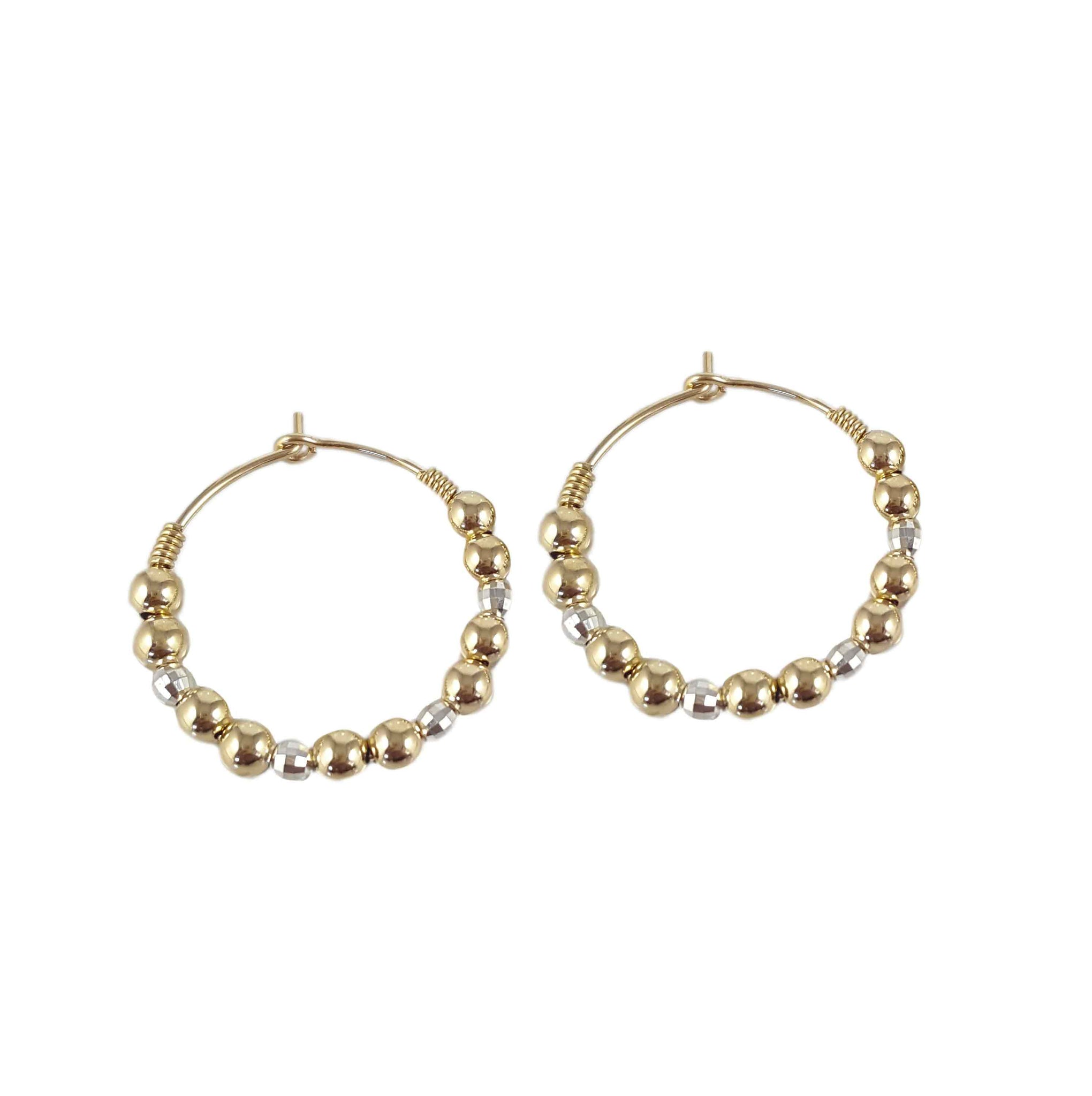 Silver Oro Hoops | Silver and gold bead hoop