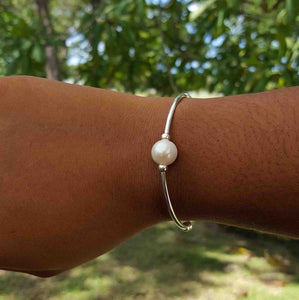 Solitaire Pearl Bangle  | Summer Gems