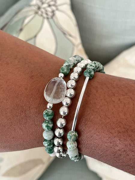 Tree agate and aquamarine bracelet