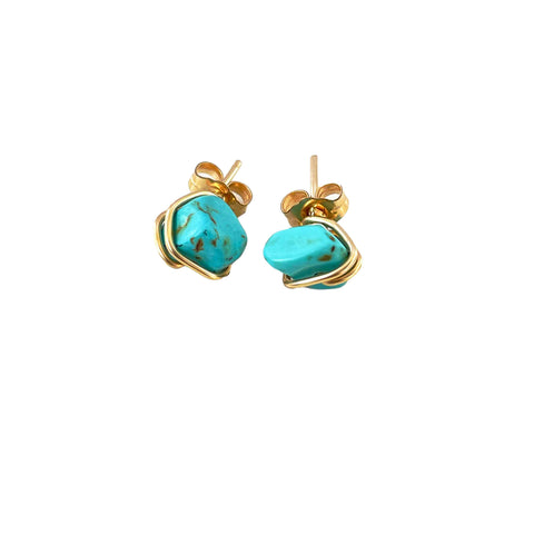 Turquoise crystal stud earrings | Stud collection
